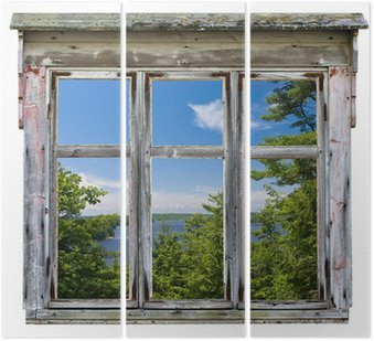 Tryptyk Malowniczy widok widziany przez ramy okna starego