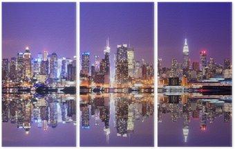 Tryptyk Manhattan skyline z odbicia