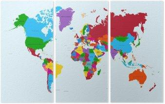 Tryptyk Mapa świata, atlas krajów kolorowe eps10 plik wektorowy.