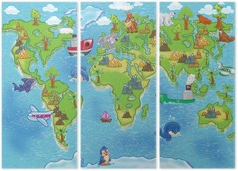 Tryptyk Mapa świata dla dzieci