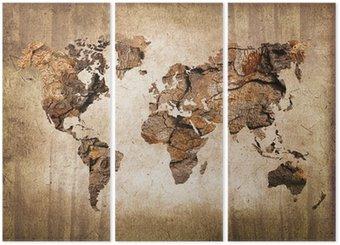 Tryptyk Mapa świata drewna, zabytkowe tekstury