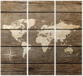 Tryptyk Mapa świata na desce wektora