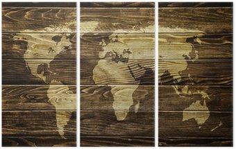 Tryptyk Mapa świata na tle drewna
