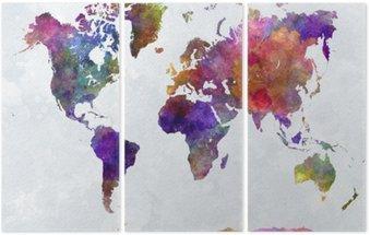 Tryptyk Mapa świata w watercolorpurple i niebieskie