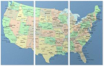 Tryptyk Mapa usa z nazwami państw i miast