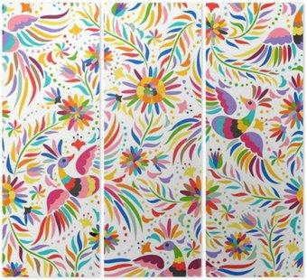 Tryptyk Mexican hafty bez szwu. Kolorowe i etnicznych ozdobny wzór. Ptaki i kwiaty jasnym tle. Floral tła z jasnym ornamentem etnicznej.