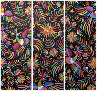 Mexican hafty bez szwu. Kolorowe i etnicznych ozdobny wzór. Ptaki i kwiaty na ciemnym tle. Floral tła z jasnym ornamentem etnicznej.