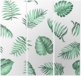 Tryptyk Miejscowe liści palmowych na bezproblemową wzór na fakturze tkaniny. ilustracji wektorowych.
