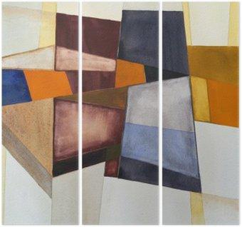 Tryptyk Modernistyczny abstrakcyjna akwarela