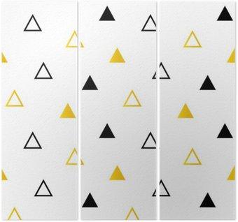 Tryptyk Modne czarne i złote trójkąty na białym bezszwowe tło wzór.