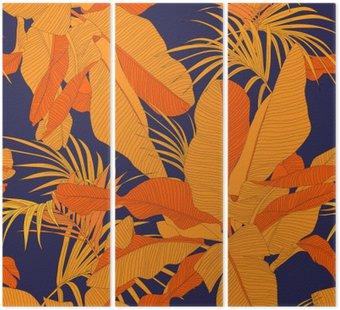 Tryptyk Modny tropikalnych tkaniny bez szwu wzór, czerwony liści palmy na ciemnym granatowym tle, ilustracji wektorowych