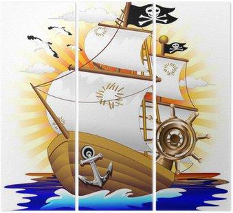 Nawa pirata kreskówki wektora statek piracki-