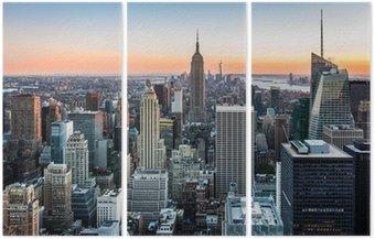 Tryptyk New York skyline o zachodzie słońca
