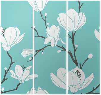Tryptyk Niebieski wzór magnolii