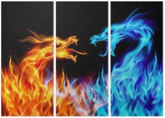 Tryptyk Niebieskie i czerwone smoki ogień