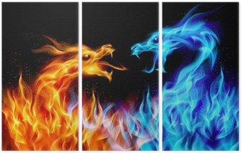 Niebieskie i czerwone smoki ogień