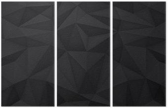 Tryptyk Niska wielokąta kształtów tła, trójkąty mozaiki, wektor projekt, kreatywne tło, szablony projektów, czarne tło