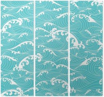 Tryptyk Ocean fale, paski szwu ręcznie rysowane stylu azjatyckim