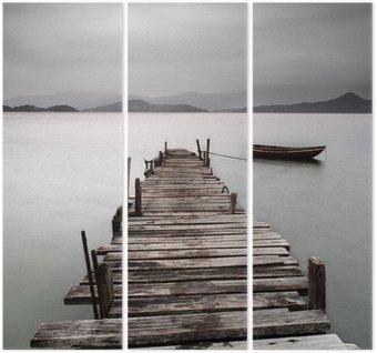 Tryptyk Patrząc na molo i łodzi, niskie nasycenie