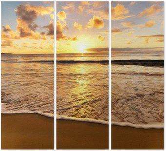 Tryptyk Piękny zachód słońca na plaży