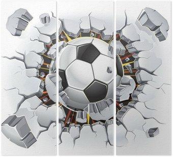 Tryptyk Piłka uszkodzenia ścian i starych tynków. ilustracji wektorowych