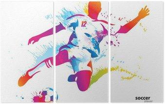 Tryptyk Piłkarz kopie piłkę. kolorowych ilustracji wektorowych
