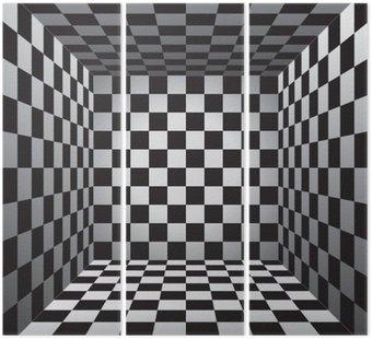 Tryptyk Plaid pokój, czarno-białe komórki, 3d szachownica, wektor wzór tła