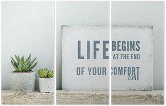 Tryptyk Plakat motywacyjny cytat życie zaczyna NA KONIEC Comfort Zone