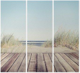 Tryptyk Plaża i drewniane deski
