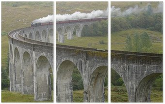 Tryptyk Pociąg na wiadukcie Glenfinnan. Szkocja.