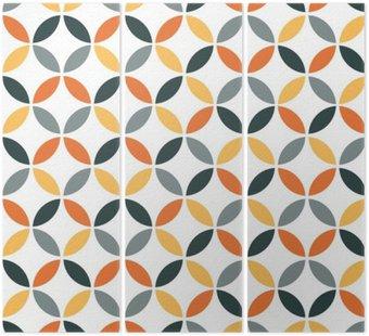 Tryptyk Pomarańczowy geometryczny wzór retro bezszwowe