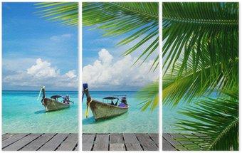 Tryptyk Pomost z widokiem na tropikalne morze