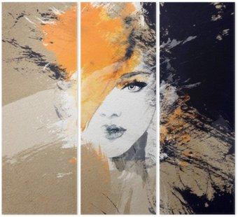 Tryptyk Portret kobiety .abstract tle akwarela .fashion