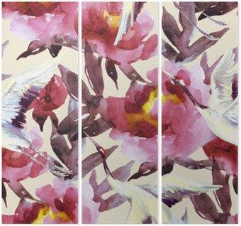 Tryptyk Ręcznie malowane akwarela peonie i ptaki żuraw