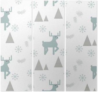 Tryptyk Renifer w snowy lasu Jednolite wektor wzorca. Skandynawski styl białe i niebieskie pastelowe tło.