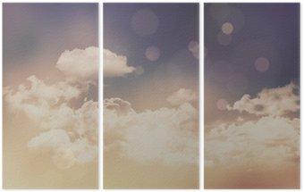 Tryptyk Retro chmury i niebo w tle