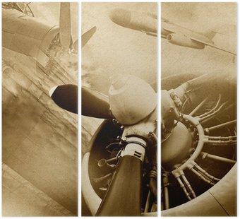Tryptyk Retro lotnictwo, zabytkowe tło