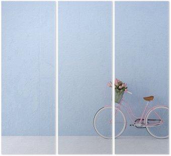 Retro rower stary i niebieskie ściany. 3d renderowania