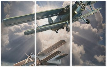 Tryptyk Retro styl obraz z biplanes. Temat transportu.