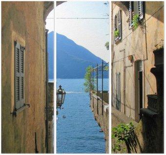 Tryptyk Romantyczny widok na słynny włoski Jezioro Como od miasta Varenna
