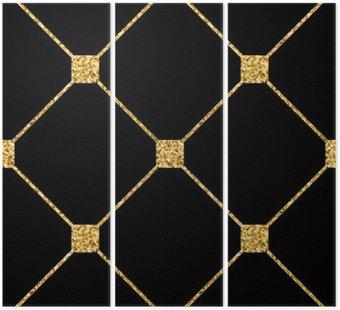 Romb bez szwu. Złoty brokat i czarny szablon. Abstrakcyjne geometryczne tekstury. Złoty ornament. Retro, Vintage dekoracji. Tapety szablon, opakowywania, tkaniny itp ilustracja.
