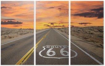 Tryptyk Route 66 chodnik znak pustyni Mojave sunrise