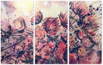 Tryptyk Rysunek, akwarela bukiet kwiatów słomy