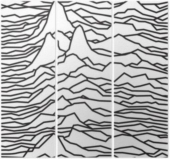 Tryptyk Rytm fal, pulsara, linie wektora projektowania, przerywaną, góry