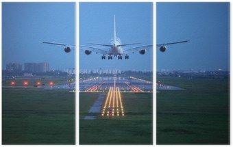 Tryptyk Samolotem latać nad pasa startu z lotniska