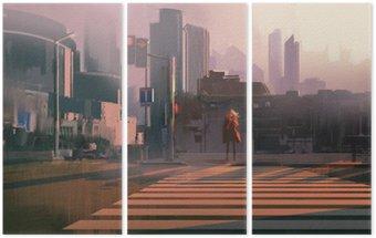 Tryptyk Samotna kobieta, stojąca na przejściu dla pieszych w miastach, ilustracja malarstwo