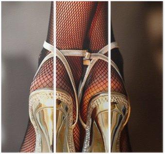 Tryptyk Seksowna kobieta w złotych szpilkach