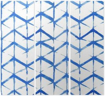Tryptyk Shibori indygo bez szwu wzór