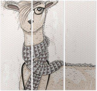 Śliczne hipster lama z aparatu fotograficznego, okulary i szalik
