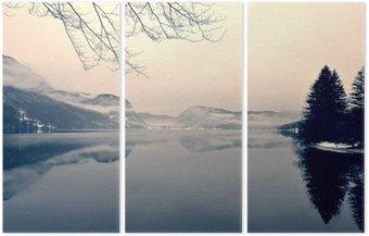 Tryptyk Snowy zimowy krajobraz nad jeziorem w czerni i bieli. Obraz monochromatyczny filtrowany w stylu retro, vintage z miękki, czerwony filtr i trochę hałasu; nostalgiczna koncepcja zimowym. Jezioro Bohinj, Słowenia.